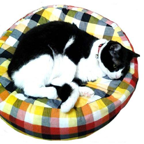 ペット用 コットンクッション Lサイズ チェック柄レッド【犬・猫】