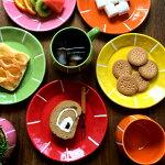 プレート小サマーココアおしゃれでポップな取皿全5色陶器皿