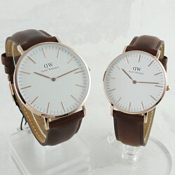 ペア腕時計ボックス付きダニエルウェリントン時計ペアウォッチ腕時計クラシックアンドルーズブラウンレザー0106DW0507DW
