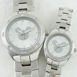 ペア腕時計ボックス付きディズニー時計ペアウォッチミッキーマウスシルバーブレスウォッチW001903W001908