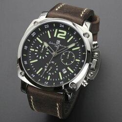 国内正規品サルバトーレマーラ時計メンズ腕時計ブラックブラウンライトグリーンクロノグラフデイカレンダーSM15105-SSBKGR