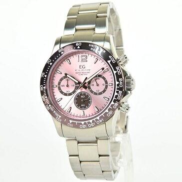 国内正規品 エルジン 時計 メンズ 腕時計 クロノグラフ ピンク文字盤 ステンレス EG-002-P ビジネス 男性 ブランド 時計 誕生日 お祝い クリスマスプレゼント ギフト お洒落