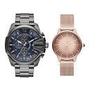 【ペアボックス付き】ディーゼル 腕時計 ペアウォッチ MEGA CHIEF クロノグラフ CASTILLA ビックケース ガンメタ ローズゴールド 個性的 DZ4329DZ5592 ブランド カップル 男女 ペアセット 誕生日 お祝い プレゼント ギフト・・・