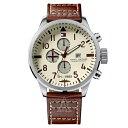 トミーヒルフィガー 腕時計 メンズ 46mm クリーム文字盤 ブラウン レザー 1790684 ビジネス 男性 ブランド 時計 誕生日 お祝い クリスマスプレゼント ギフト お洒落