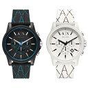 アルマーニエクスチェンジ 時計 ペアウォッチ 同じサイズ 2本セット シェア 腕時計 OUTER BANKS クロノグラフ ブラック ホワイト シリコンラバー AX1342AX1340 カップル 男女 ペアセット 時計 誕生日 お祝い ギフト・・・