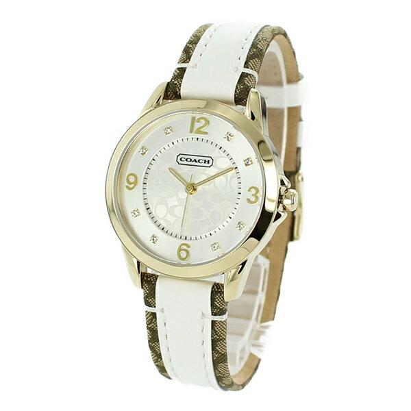 コーチ時計レディース腕時計シグネチャーホワイトブラウンレザーゴールドケースホワイトシルバー文字盤14501618彼女女友達喜ぶ誕