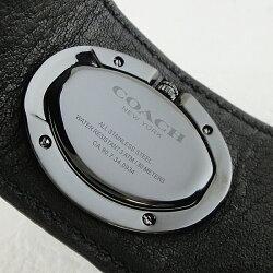 コーチ時計レディース腕時計ターンロックカフブラックレザーバングル14502022
