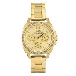 コーチ時計レディース腕時計ボーイフレンドクリスタルイエローゴールドステンレス14502127