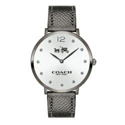 コーチ時計レディース腕時計イーストンダークグレーレザー35ミリグレーケースシルバー文字盤14502686
