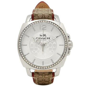 【キャッシュレス5%還元】コーチ 時計 レディース 腕時計 ボーイフレンド シルバー×ブラウンレザー クリスタル 14502415 ビジネス 女性 ブランド 誕生日 お祝い プレゼント ギフト