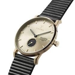 新作トリワ時計メンズレディースユニセックス腕時計ファルケンスモセコゴールド文字盤ブラックレザーFAST107-WC010117