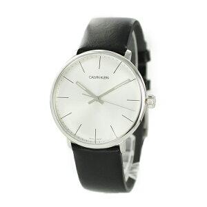 カルバンクライン CK スイス製 時計 メンズ 腕時計 HIGH NOON ハイヌーン シルバー ブラック レザー 革ベルト K8M211C6