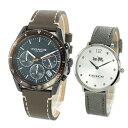 【腕時計収納BOX付き】COACH コーチ 腕時計 おしゃれ ペアウォッチ シンプル 大人色 シックカラー オリーブ グレー レザーベルト 1460240814502686 ブランド カップル 男女 ペアセット 誕生日 お祝い プレゼント ギフト・・・