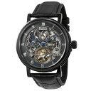 無料特典付き! DANIEL DOUGLAS ダニエルダグラス 時計 メンズ 腕時計 42mm ブラック レザー 牛革 機械式 自動巻き DD8805-BK ビジネス 男性 ブランド 時計 誕生日 お祝い プレゼント ギフト