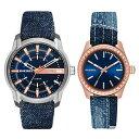 DIESEL ディーゼル 腕時計 ペアウォッチ メンズ レディース ビック アンバー クレイ クレイ ブルー デニムベルト DZ1769DZ5510 カップル 男女 ペアセット 2本セット 誕生日 お祝い ギフト・・・