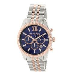 マイケルコース時計腕時計メンズレキシントンクロノグラフデイカレンダーブルーシルバーMK8412