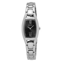 逆輸入セイコー時計レディース腕時計コアソーラーブラック文字盤シルバーブレスレットウォッチSUP317