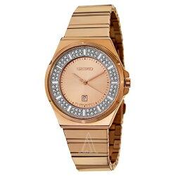 逆輸入セイコー腕時計レディースコアスワロフスキーローズゴールドSXDF74