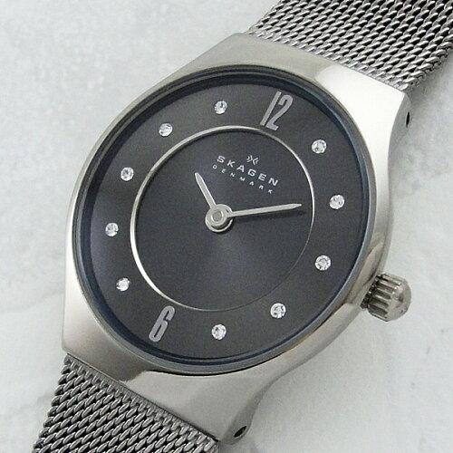 スカーゲン 時計 レディース 腕時計 チタニウム スワロフスキー ステンレスメッシュ 233XSTTM ビジ...