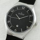 スカーゲン 時計 メンズ 腕時計 スリム ブラック文字盤 レザー 革 SKW6115 ビジネス 男性 ブランド 時計 【仕事用】 誕生日 お祝い クリスマスプレゼント ギフト お洒落