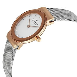SKAGENスカーゲン時計レディース腕時計スリムステンレスシルバー×ピンクゴールドスワロフスキークリスタルスライド式クラスプメッシュベルト358SRSC
