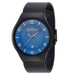 SKAGENスカーゲン時計メンズ腕時計ブラックブルー文字盤カレンダーブラックメッシュブレスレットSKW6147