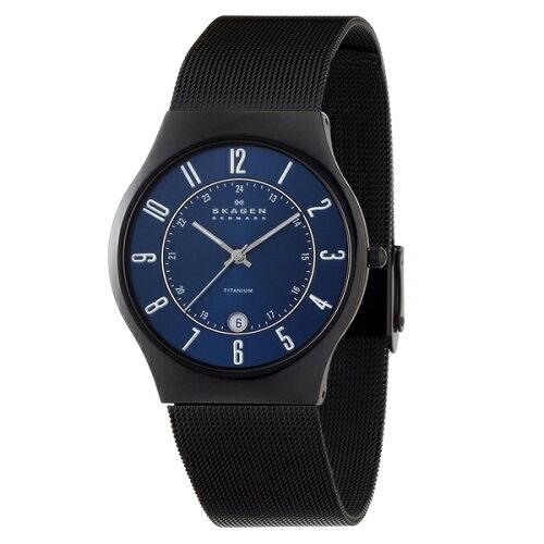 スカーゲン 時計 メンズ 腕時計 クオーツ TITANIUM チタニウム カレンダー ブルーサンレイ文字盤 ...