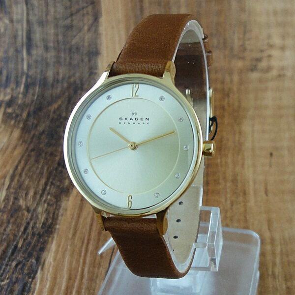 351df70489 スカーゲン 時計 レディース 腕時計 ゴールド スワロフスキー レザー SKW2147 ビジネス 男性 ブランド 時計 誕生日 新生活
