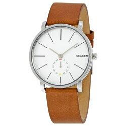 スカーゲン時計メンズ腕時計ハーゲンスモールセコンドライトブラウンレザーSKW6273