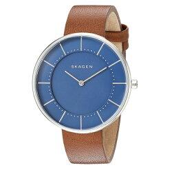 新作スカーゲン時計レディース腕時計Gitteブルー文字盤ブラウンレザーSKW2612
