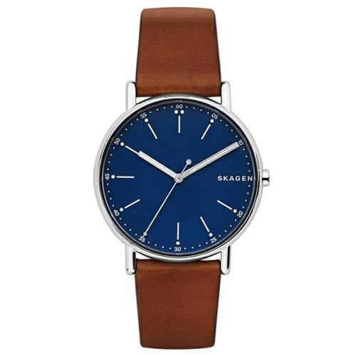 新作 スカーゲン 時計 メンズ 腕時計 シグネチャー ブラウン レザー SKW6355 ビジネス 男性 ブラン...