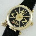 【アウトレット】ヴィヴィアン ウエストウッド 時計 レディース 腕時計 オーブ チャーム付 ゴールド ブラックレザー 革 VV006BKGD ビジネス 女性 ブランド 時計 誕生日 お祝い クリスマスプレゼント ギフト お洒落