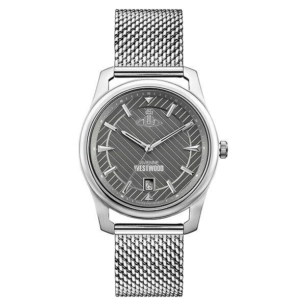 ヴィヴィアン ウエストウッド 時計 メンズ 腕時計 グレー文字盤 シルバー メッシュ ステンレス VV185GYSL ビジネス 男性 ブランド 時計 誕生日 お祝い プレゼント ギフト