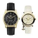 【ペアBOX付き】ヴィヴィアン ウエストウッド 腕時計 ペアウォッチ 2本セット ゴールド ブラック ホワイト レザー 革VV185GDBKVV006WHWH ペアセット カップル 誕生日 お祝い ギフト・・・