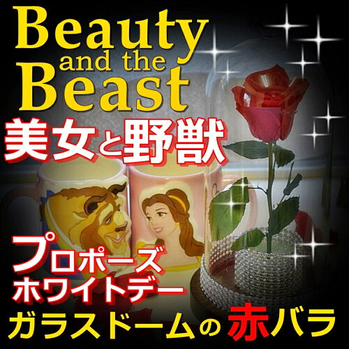 美女と野獣の赤バラ/ガラスドームケース入り美女と野獣バラでプロポーズ/バレ...