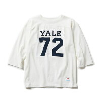 Champion(チャンピオン)3/4スリーブフットボールTシャツWHITEホワイトTRUETOARCIVESYALEコラボ日本製7分TEE
