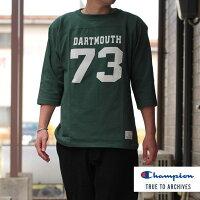 Champion(チャンピオン)3/4スリーブフットボールTシャツDARKGREENダークグリーンTRUETOARCIVESDARTMOUTHダートマス大学コラボ日本製7分TEE