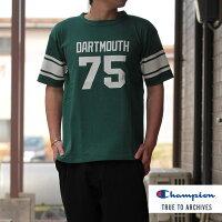 Champion(チャンピオン)1/4スリーブフットボールTシャツダークグリーンDARTMOUTHダートマス大学TシャツTRUETOARCIVESYALEコラボ日本製TEEC3-R339