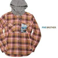 FIVEBROTHERファイブブザーHEAVYFLANNELHOODEDSHIRTS151961ヘビーフランネルフーディッドシャツフードシャツネルシャツBURGUNDYCHECKバーガンディチェック