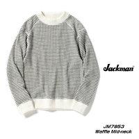 JackmanジャックマンWaffleMidneckワッフルミッドネックカットソービッグワッフルMADEINJAPAN#98WHITE×GREYホワイト×グレーボーダーJM7953