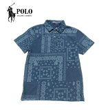 PoloRalphLaurenペイズリー柄ポロシャツメンズアメリカ買付商品インディゴブルーポロラルフローレン