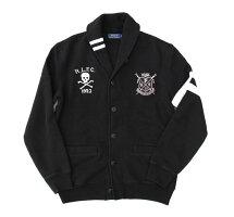 PoloRalphLaurenポロラルフローレンスウェットショールカラーカーディガンスウェットジャケットスカル刺繍デザインBLACKブラック