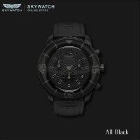 【WILDSPEEDスカイウォッチ】SKYWATCH送料無料♪AllBlackChronographs/BlackIPオールブラック時計スイスムーブメント