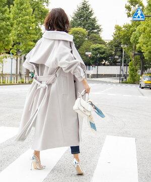 09月21日午前10:00新発売【松島花さん着用】ウール混ボリュームスリーブロングコート