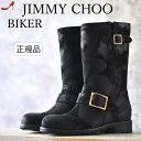 ジミーチュウ バイカー エンジニア ブーツ JIMMY CHOO BIKER |人気 ブランド 正規品 歩きやすい 疲れない サイドベルト かっこいい おしゃれ レディース ローヒール スエード 本革 黒 ブラック 靴 送料無料