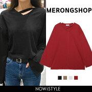 MERONGSHOP ショップ ポイントネックカットソー ファッション トップス Tシャツ カットソー シンプル レディース