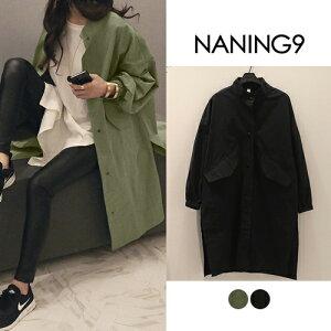 ナンニング サイドスリッドジャンパーアウター ブラック ジャンパー スリッド サイドスリッド ジャケット シンプル ファッション