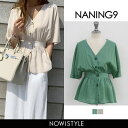 NANING9(ナンニング)ウエストマークリネン混紡ブラウス...