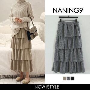 ナンニング フリルレイヤードロングスカート スカート マタニティ ベージュ レディース ファッション