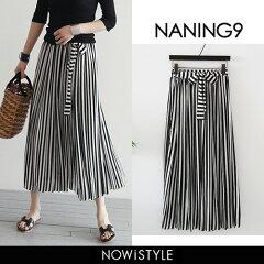 NANING9(ナンニング)ストライプロングスカート【5/2up_go】韓国韓国ファッションボトムススカートロングロングスカートストライプ春夏ブラック黒ナンニングレディース【5】